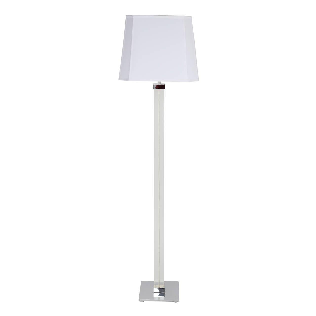 Karl springer lucite and nickel floor lamp at 1stdibs for Linear floor lamp with rectangular white shade