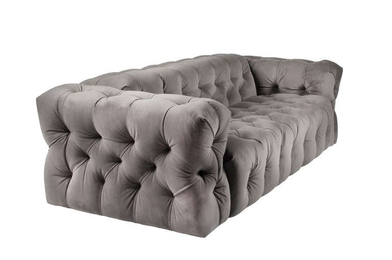 Chesterfield sofa modern  Pair of Striking Modern Chesterfield Sofas after Milo Baughman at ...