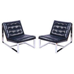 Pair of Milo Baughman Leather and Chrome Slipper Chairs