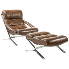 1970s Leather and Steel Armchair and Ottoman
