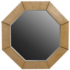 1970s, Octagonal Faux-Shagreen and Brass Mirror by Karl Springer