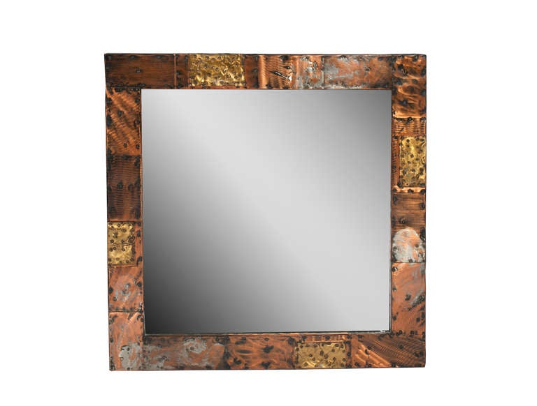 Brass Paul Evans Patchwork Console and Mirror, circa 1970s For Sale