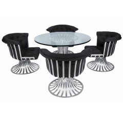 Russell Woodard Sculptural Aluminum Lounge Table and Chairs