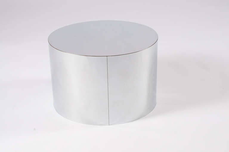 Milo Baughman Drum Table In Chrome At 1stdibs