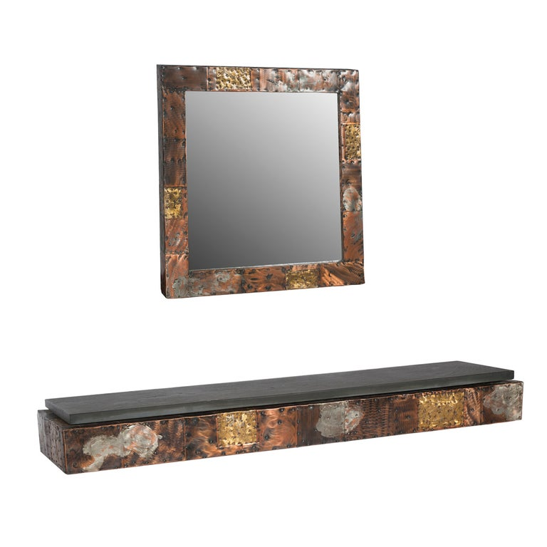 Paul Evans Patchwork Console and Mirror, circa 1970s For Sale