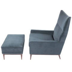Paul McCobb High Back Lounge Chair and Ottoman