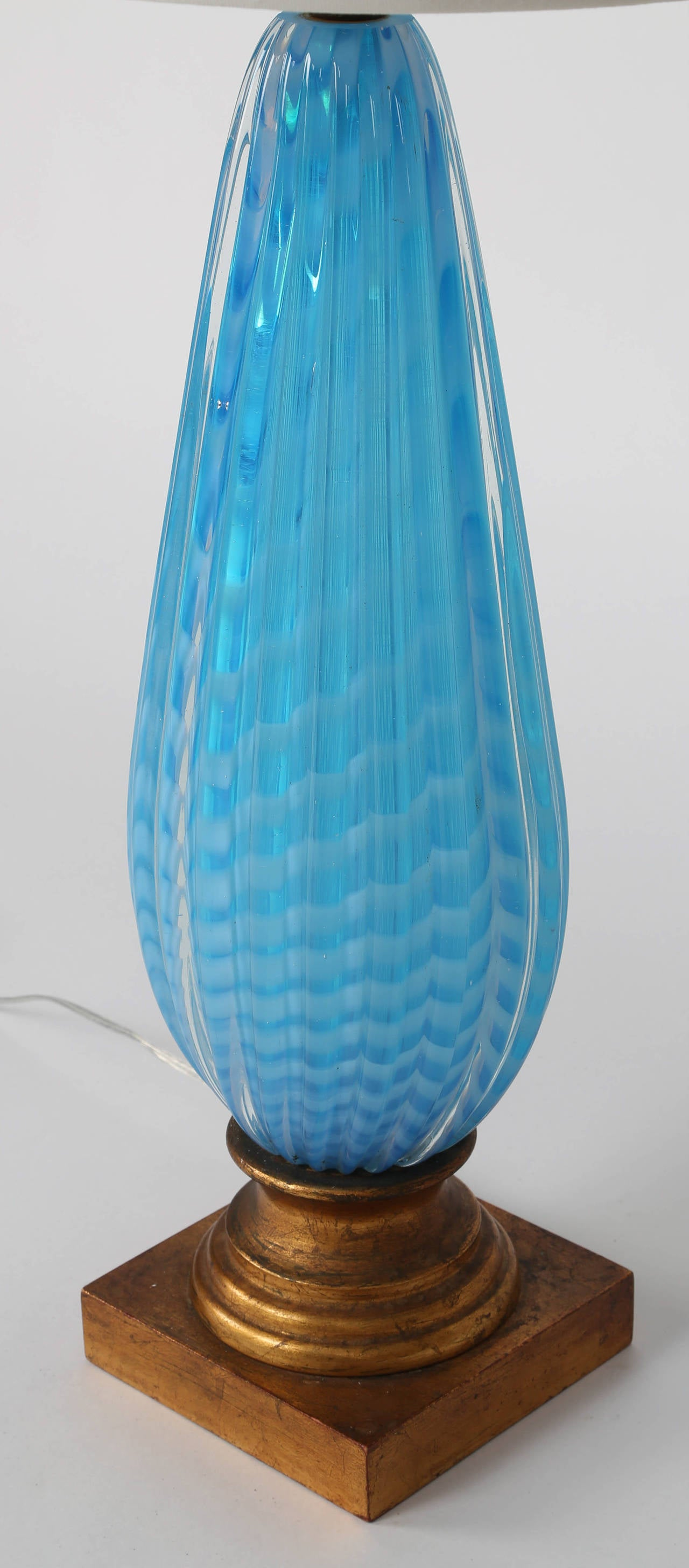 blue murano glass table lamp at 1stdibs. Black Bedroom Furniture Sets. Home Design Ideas