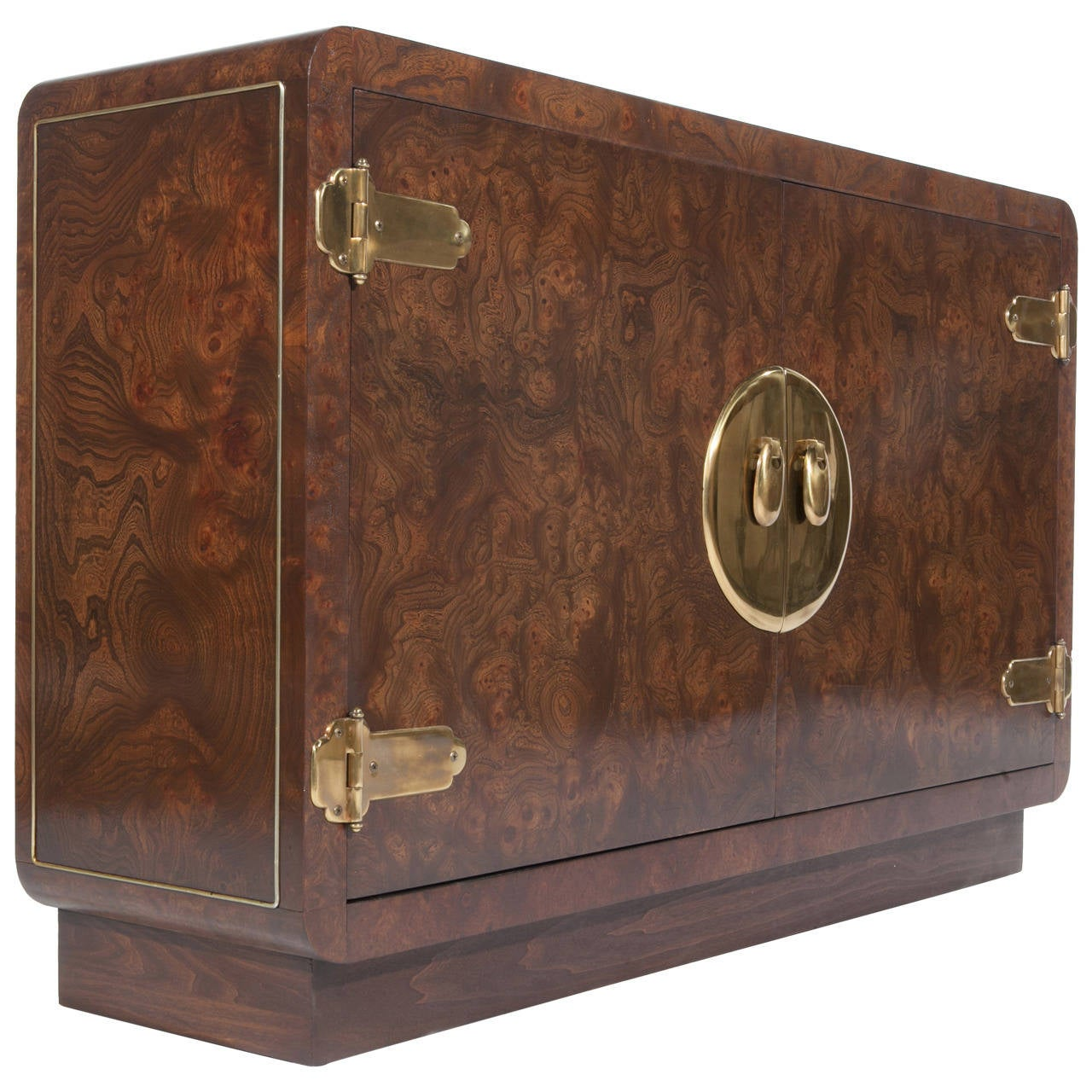 1970s Mastercraft Burl and Brass Two-Door Cabinet