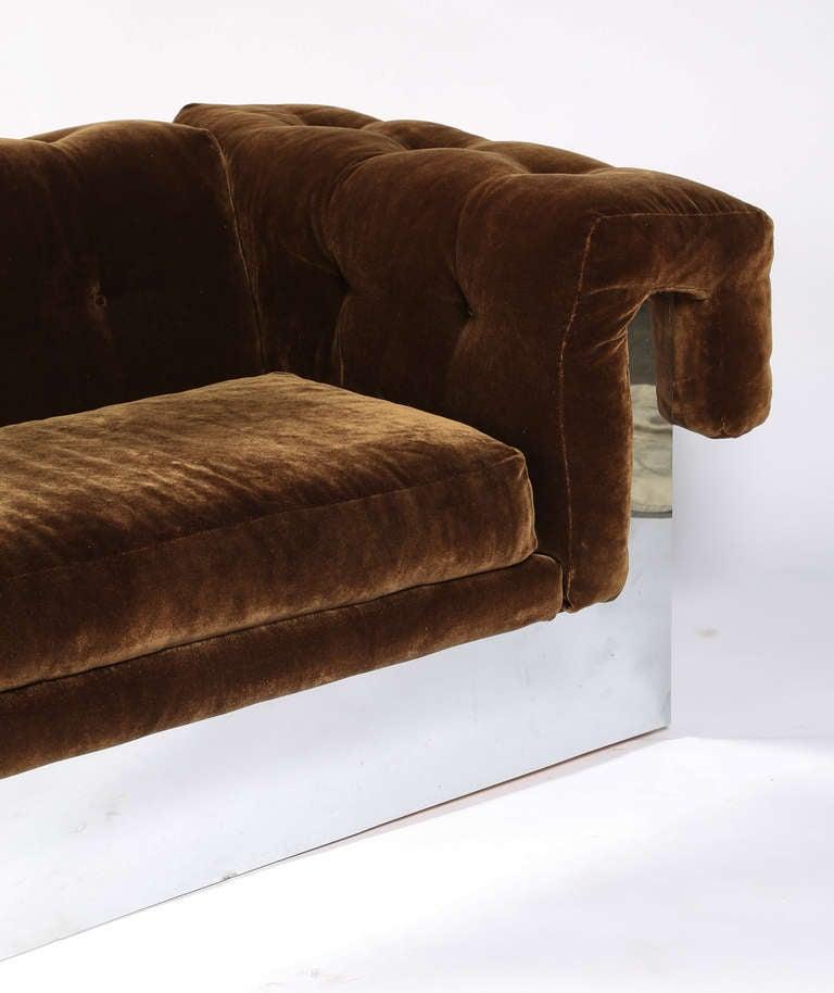 Milo Baughman Chrome Base Button Tufted Sofa At 1stdibs