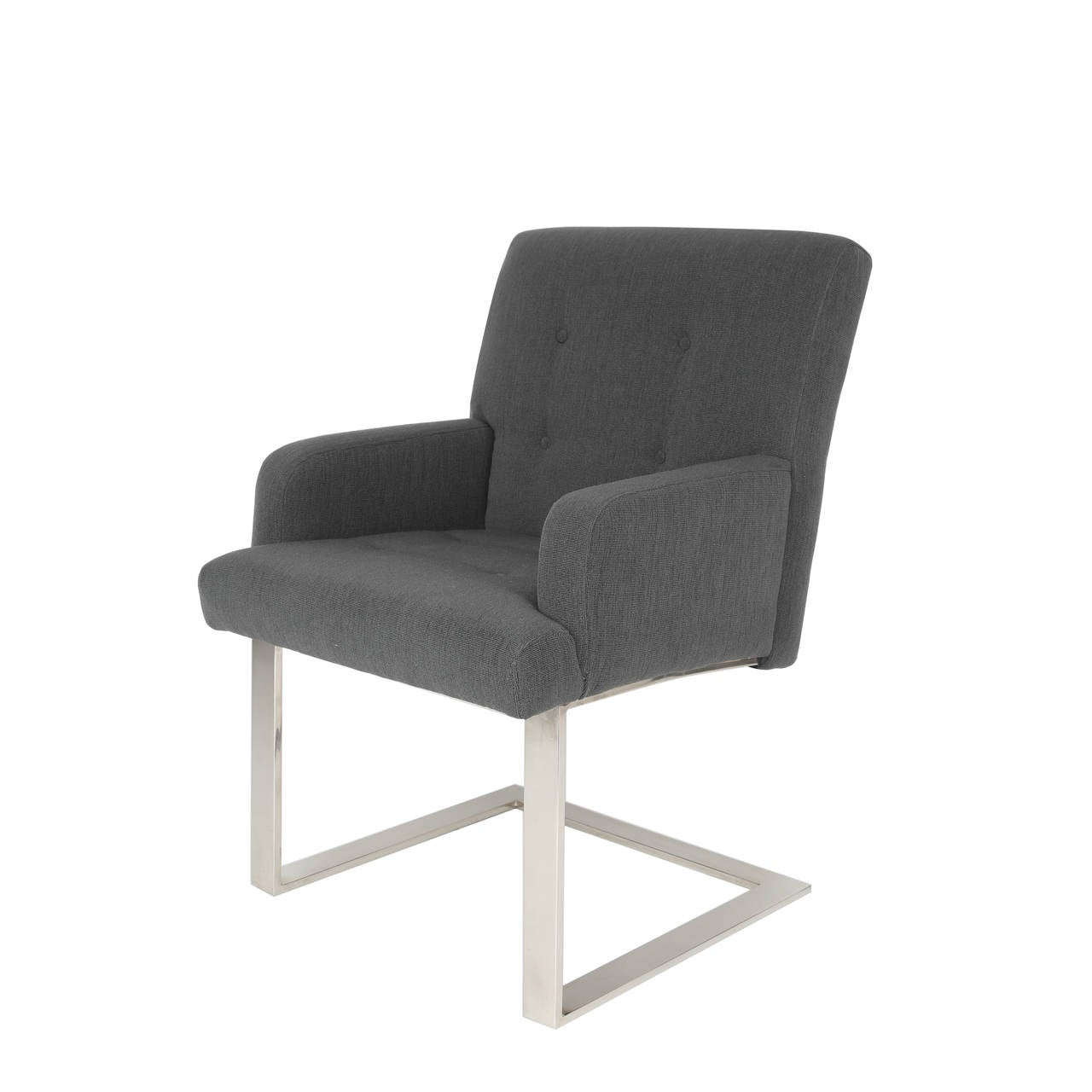 Set of six substantial dining chairs, two armchairs and four side chairs from Paul Evans' collection 77 for Directional. Chromed steel and new charcoal-gray wool upholstery. Dimensions: Armchairs: 33-1/2