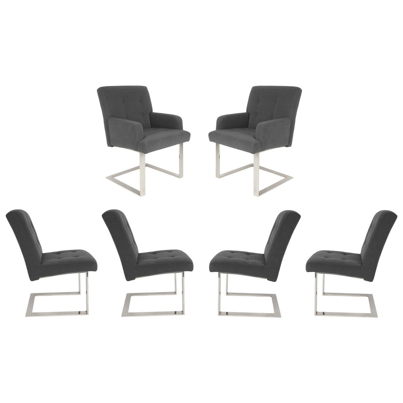 Set of Six 1970s Cantilevered Dining Chairs by Paul Evans for Directional For Sale