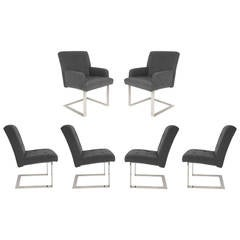 Set of Six Cantilevered Dining Chairs by Paul Evans for Directional