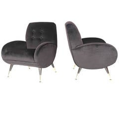 Pair of 1950s Italian Lounge Chairs in Chocolate Mohair