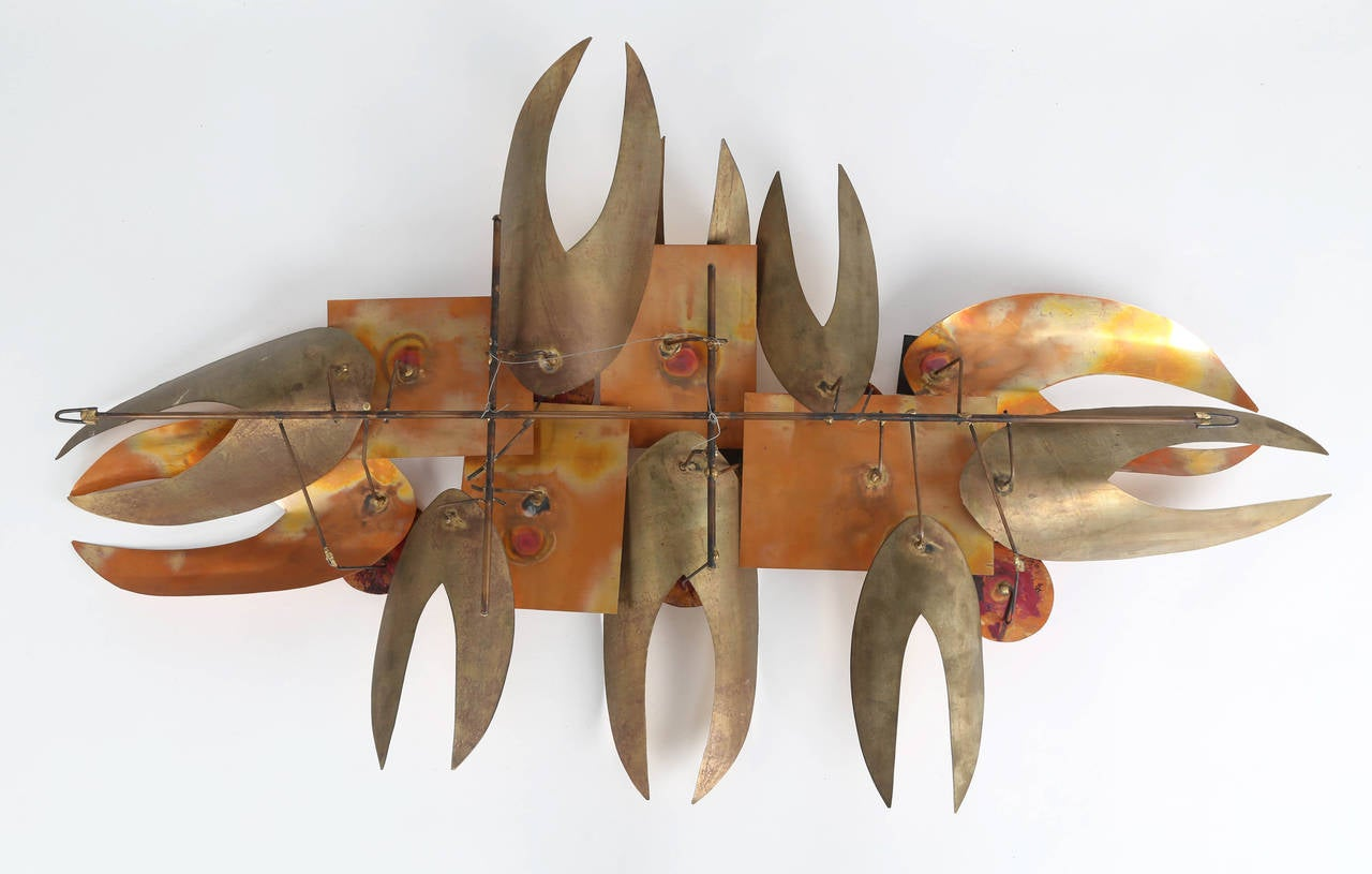 Brutalist, 1970s Wall Sculpture in Enamel and Brass For Sale 1