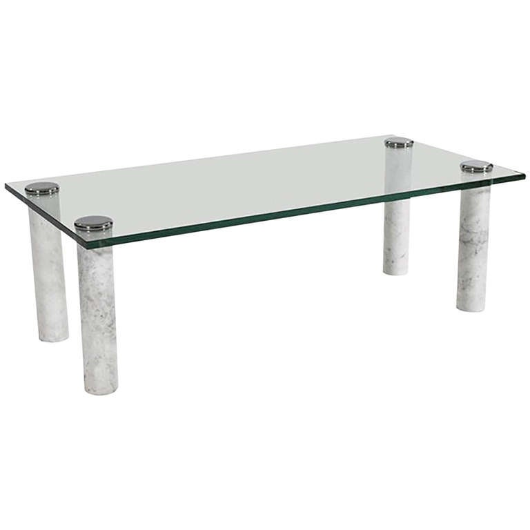 Marble Glass Top Coffee Table: Pace Marble And Glass Cocktail Table For Sale At 1stdibs