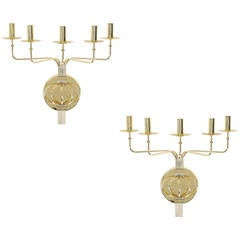 Pair of 1950s Tommi Parzinger Brass Wall Candelabras