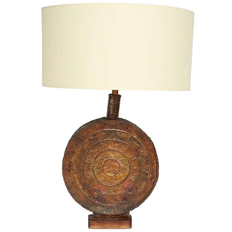 Large Copper Marcello Fantoni Table Lamp, circa 1960s