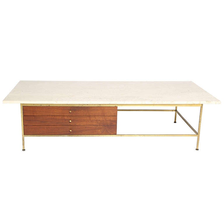 Paul Mccobb Travertine Coffee Table At 1stdibs