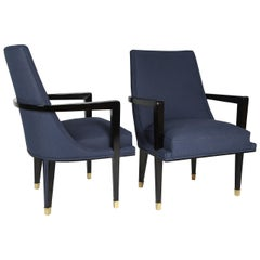Pair of Ebonized Wood and Brass Armchairs by Roberto and Mito Block, circa 1950s