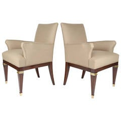 1950s Mahogany and Brass Armchairs by Arturo Pani