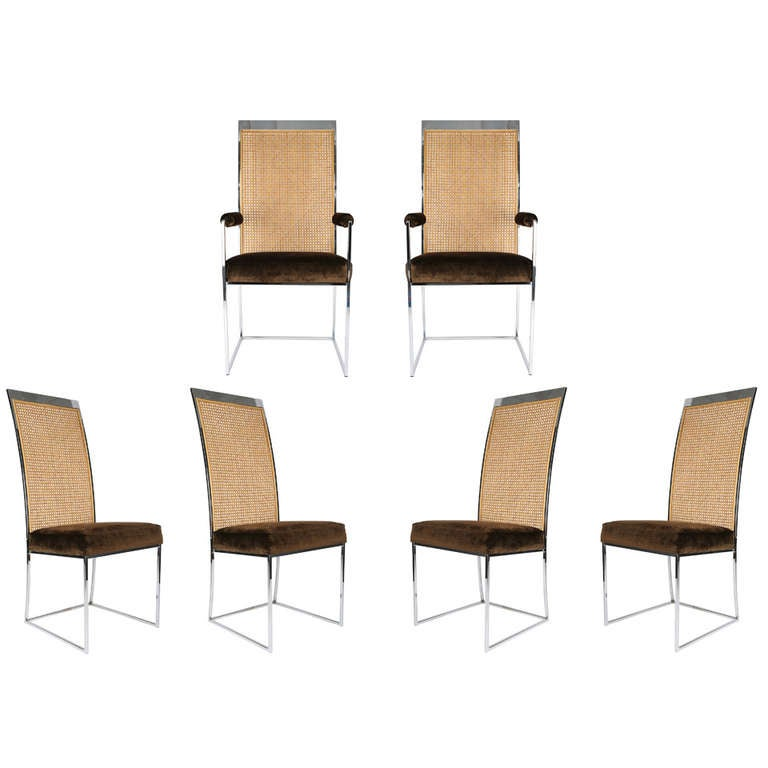 Milo Baughman Cane-Back Dining Chairs at 1stdibs