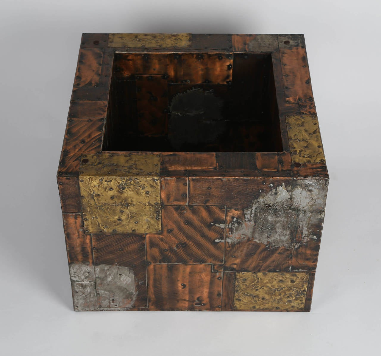Paul Evans Pewter, Brass and Copper Patchwork Cocktail Table, circa 1970s For Sale 2