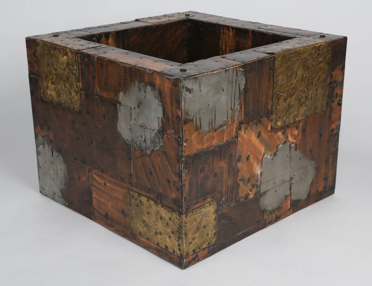 Patinated Paul Evans Pewter, Brass and Copper Patchwork Cocktail Table, circa 1970s For Sale