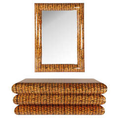 Stunning Batik-Wrapped Console and Mirror, Circa 1970s