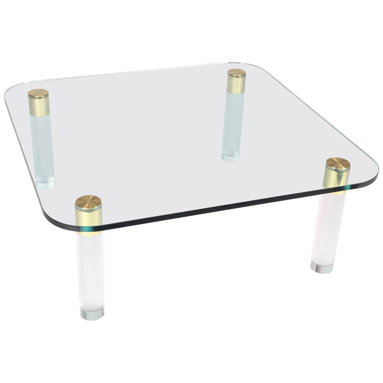 1970s Brass, Glass and Lucite Cocktail Table by Pace