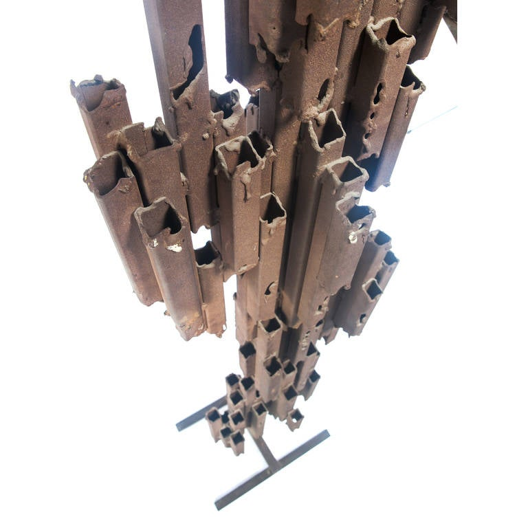 Late 20th Century Monumental Brutalist Abstract Steel Floor Sculpture, Circa 1970s For Sale