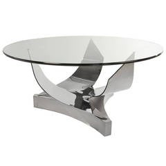 Ron Seff Sculptural Round Stainless Steel and Glass Dining Table, Circa 1980s