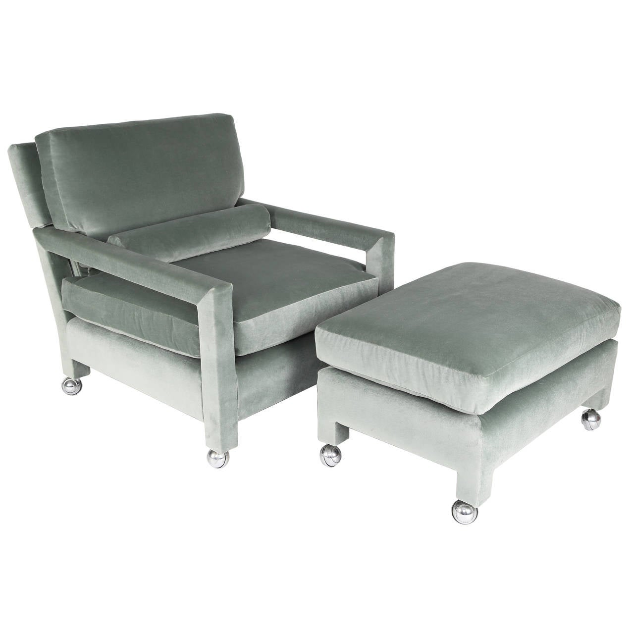 milo baughman reclining lounge chair and ottoman on casters at 1stdibs