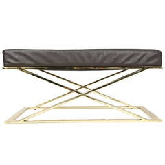 Milo Baughman Brass and Leather Bench
