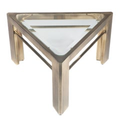 1970s Mastercraft Triangular Side Table in Brass