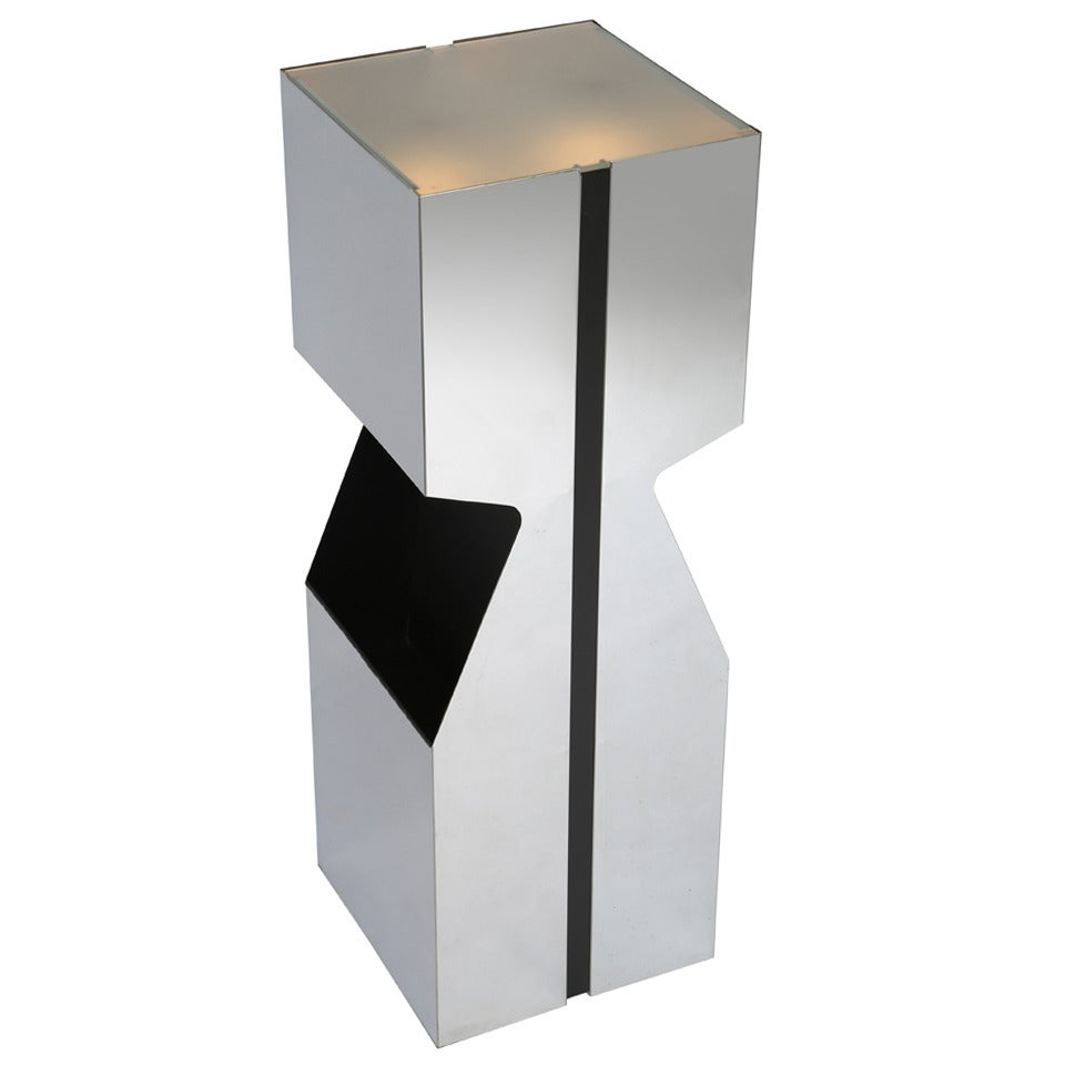Neal Small Illuminated Chrome Pedestal with Magazine Storage, circa 1970s