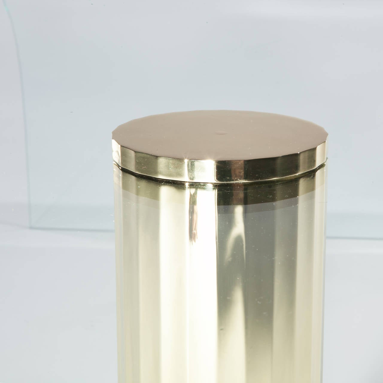 Curved glass cocktail table with single brass leg at 1stdibs for Designer cocktail tables glass
