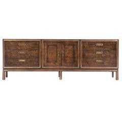Mastercraft 1970s Burl and Brass Three-Cabinet Sideboard