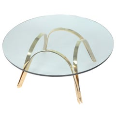 Circular Glass Coffee Table With Brass Base by Tri-Mark, Circa 1970s