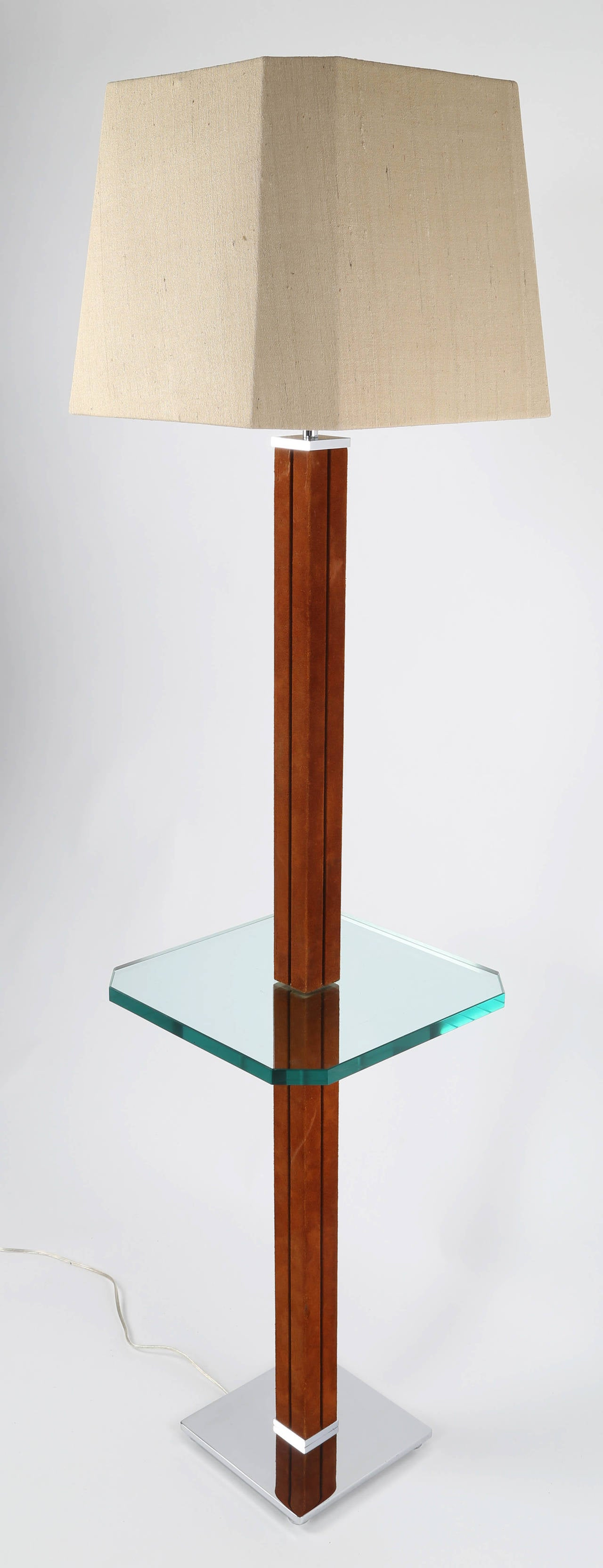 American 1970s Karl Springer Chrome, Suede and Glass Lamp Table For Sale