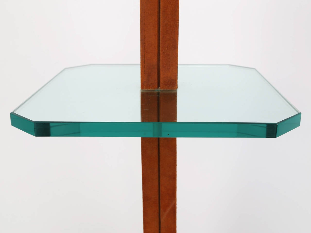 1970s Karl Springer Chrome, Suede and Glass Lamp Table In Excellent Condition For Sale In Brooklyn, NY