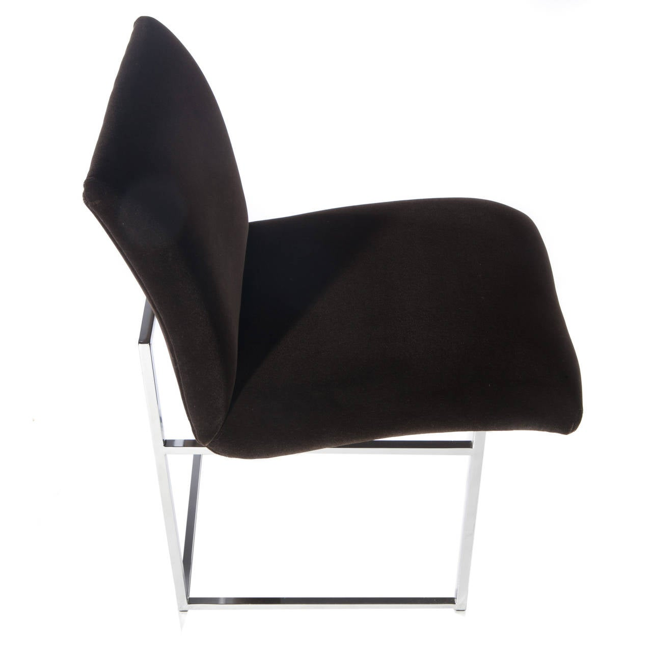 American Set of Four Chrome and Mohair Dining Chairs by Milo Baughman, Circa 1970s For Sale