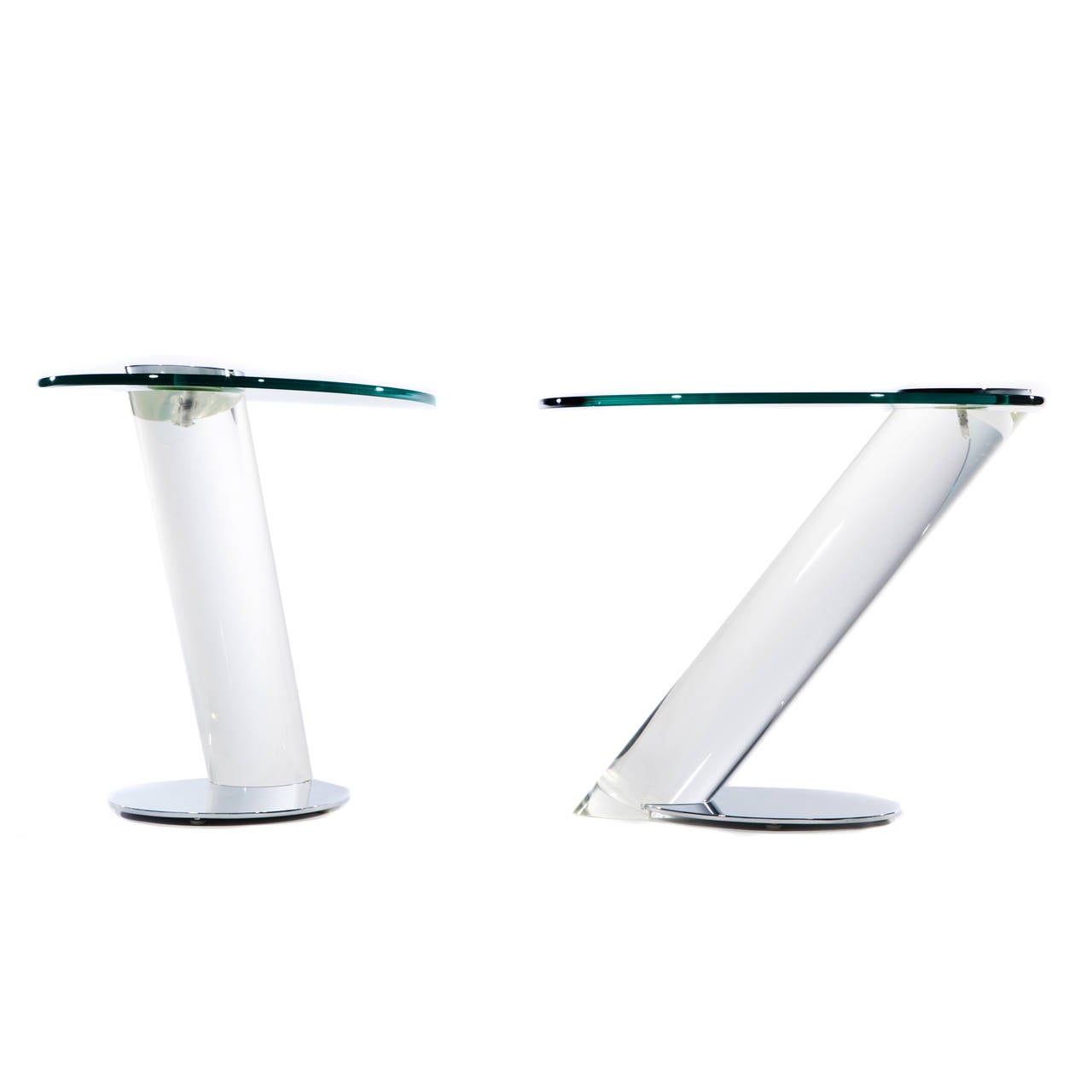 Murano gl floor lamp murano gl floor lamps 173 for at 1stdibs - Pair Of Lucite Chrome And Glass Side Tables By Lion In Frost 2