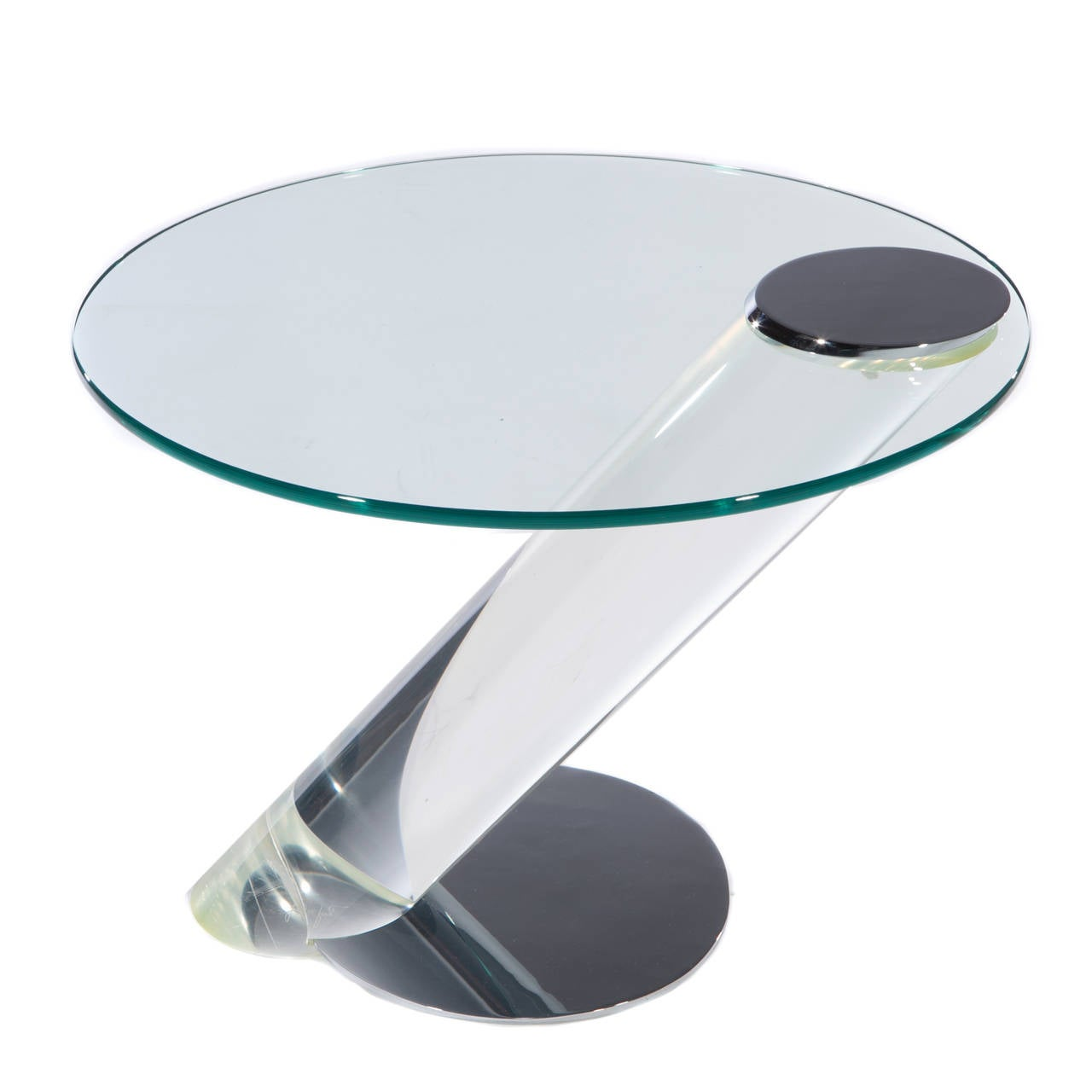 Pair Of Lucite, Chrome And Glass Side Tables By Lion In Frost 3