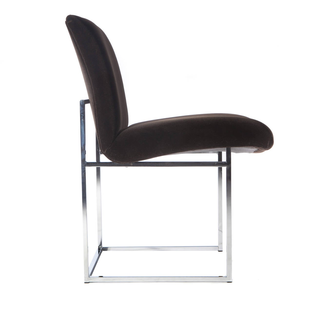 Set of Four Chrome and Mohair Dining Chairs by Milo Baughman, Circa 1970s In Excellent Condition For Sale In Brooklyn, NY