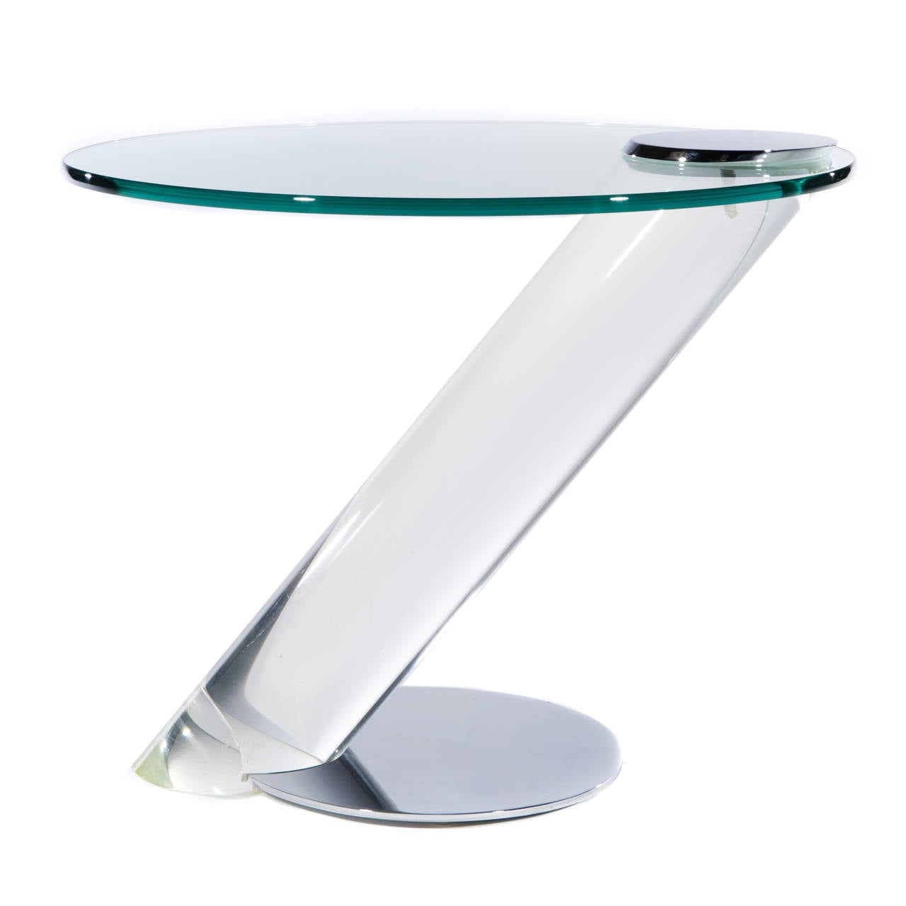 Pair Of Lucite Chrome And Glass Side Tables By Lion In Frost At 1stdibs