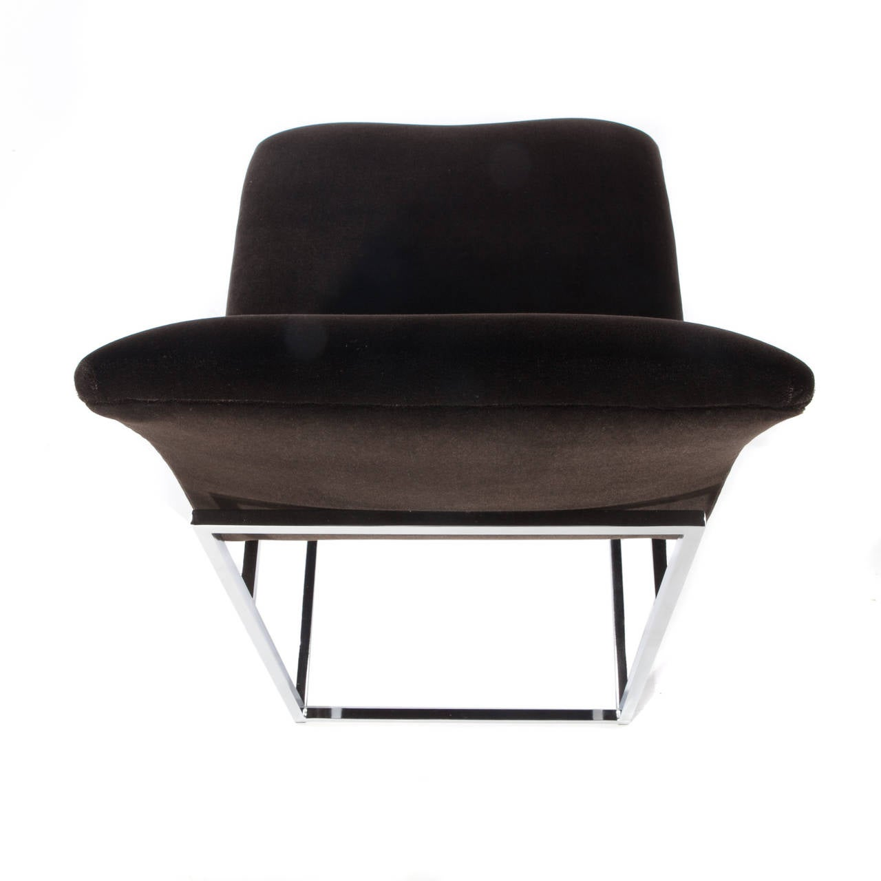 Late 20th Century Set of Four Chrome and Mohair Dining Chairs by Milo Baughman, Circa 1970s For Sale