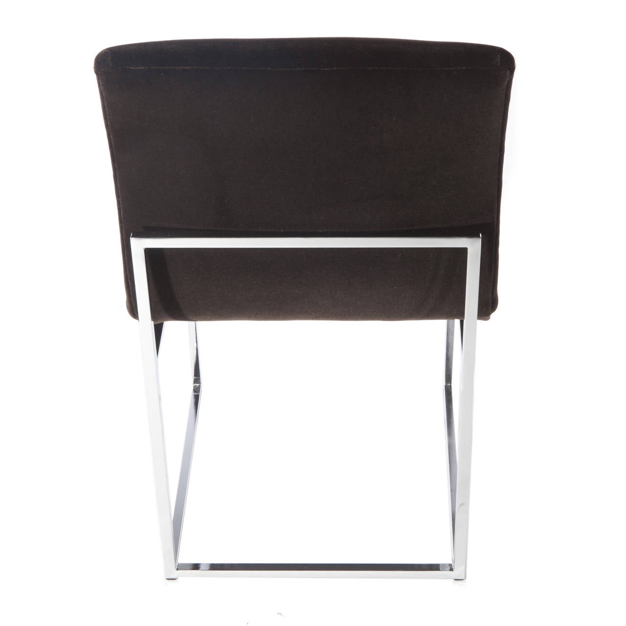 Set of Four Chrome and Mohair Dining Chairs by Milo Baughman, Circa 1970s For Sale 1