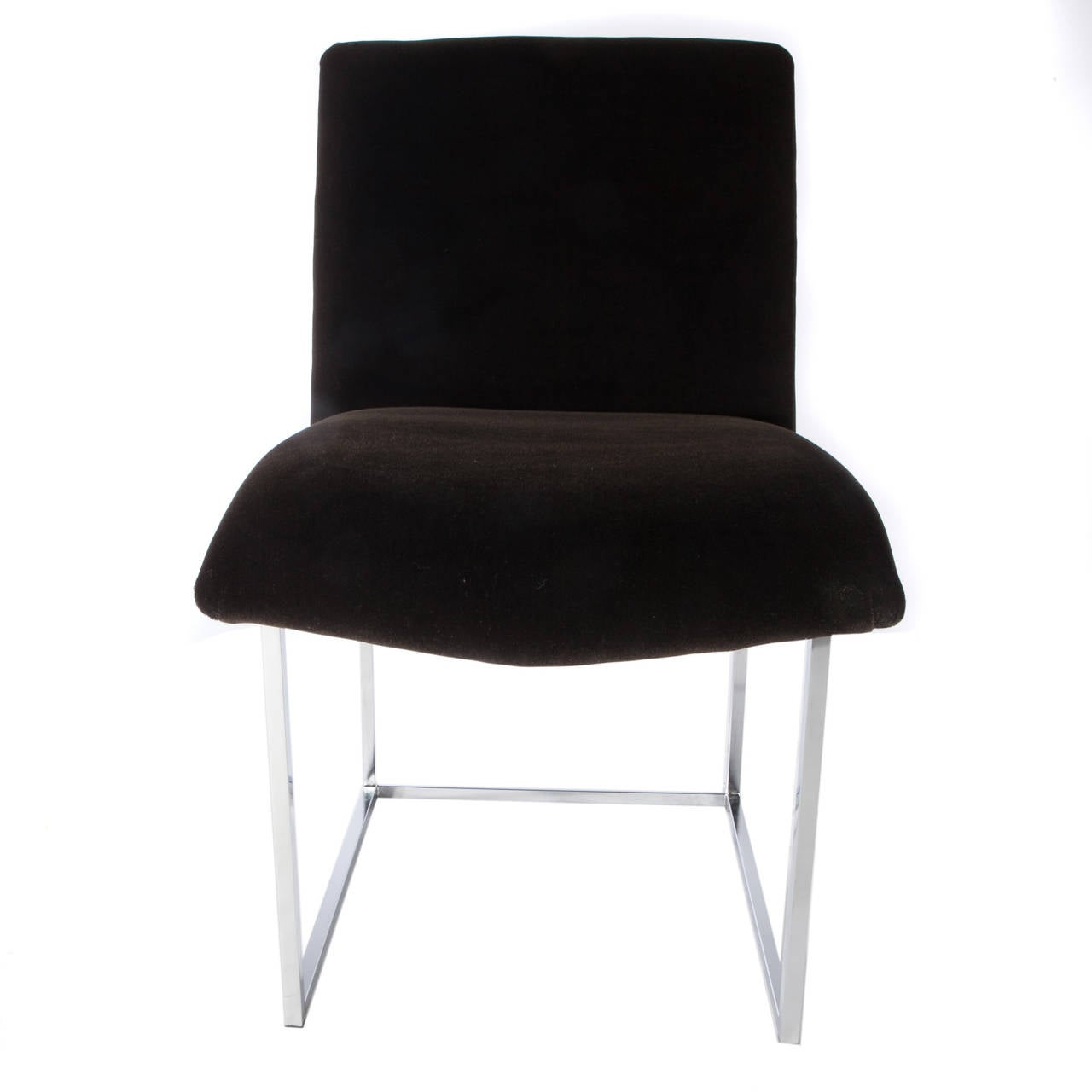 Set of Four Chrome and Mohair Dining Chairs by Milo Baughman, Circa 1970s For Sale 2
