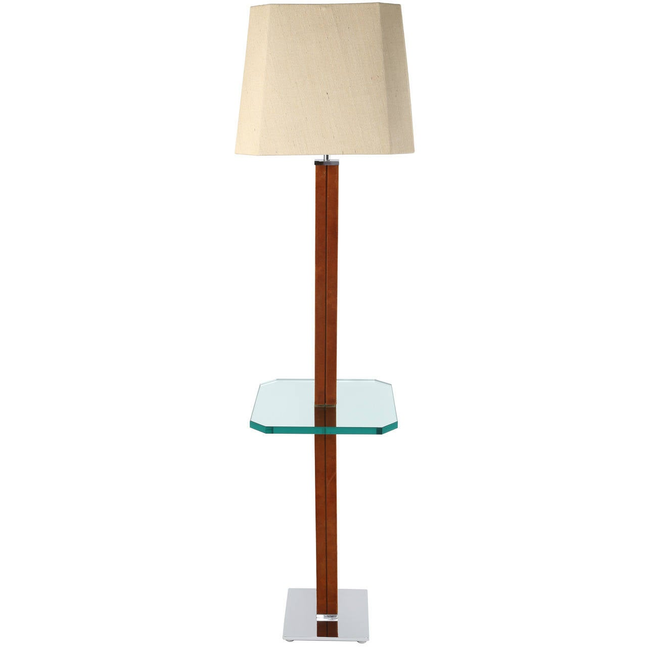 1970s Karl Springer Chrome, Suede and Glass Lamp Table For Sale
