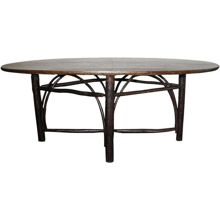 rustic hickory oval dining table at 1stdibs. Black Bedroom Furniture Sets. Home Design Ideas